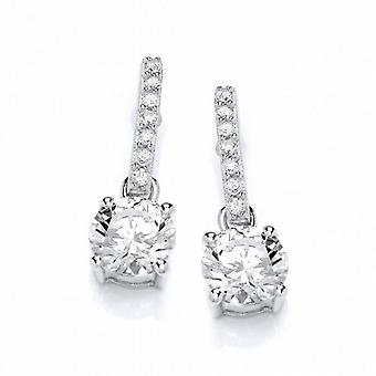 Cavendish French Round Cubic Zirconia Solitaire Drop Earrings