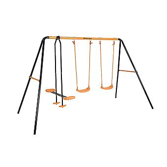 Hedstrom Neptune Double Swing and Glider Set Blue/Orange Ages 3-10 Years