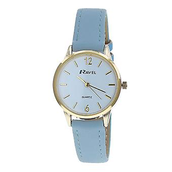 Ravel Ladies - Womens White Dial & Blue PU Buckle Strap Watch R0133.06.2