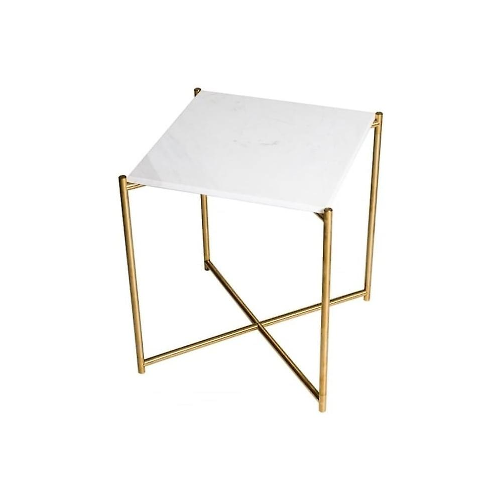 Gillmore Space blanc Marble Square Side Table With Brass Cross Base