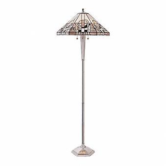3 Light Floor Lamp Polished Aluminium, Tiffany Glass