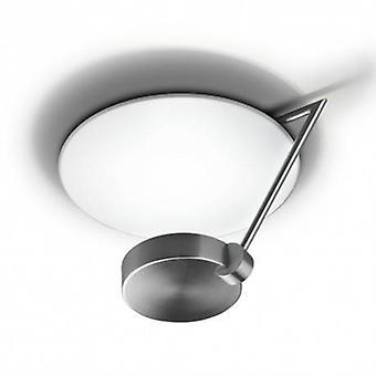 1 Light Medium Semi Flush Ceiling Light Satin Nickel