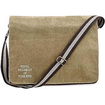 Royal Regiment Of Fusiliers Text - Concesso in licenza British Army Ricamato Vintage Canvas Spedizione Messenger Bag
