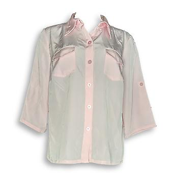 Susan graver vrouwen ' s top Peachskin Solid Roll tabblad shirt roze A87186
