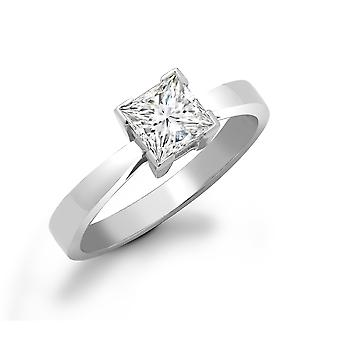 Jewelco London Ladies Solid 18ct White Gold L-Shape 4 Claw Set Princess G SI1 0.75ct Diamond Solitaire Engagement Ring