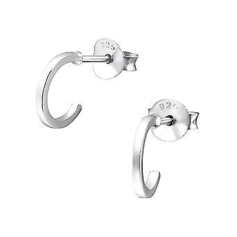 Half Round - 925 Sterling Silver Plain Ear Studs - W26235X