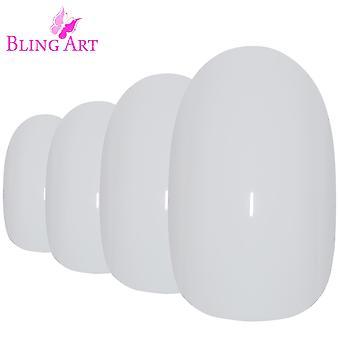 False nails by bling art white polished oval medium fake 24 acrylic nail tips