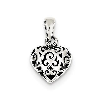 925 Sterling Argent Poli Filigree Antique finition Antique Puff Heart Pendant - 1.7 Grammes