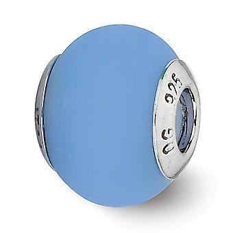 925 Sterling hopea kiillotettu mattapinta antiikki viimeistely heijastukset sininen matta Italian Muranon lasi helmi charmia
