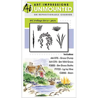 Art Impressions aquarelle s'accrochent Rubber Stamp feuillage Set 2 4270