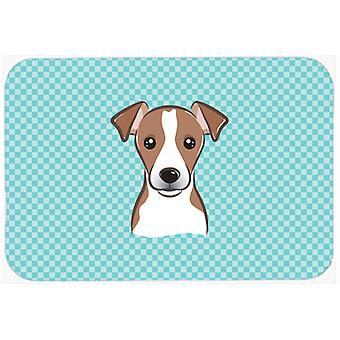 Checkerboard Blue Jack Russell Terrier Mouse Pad, Hot Pad or Trivet BB1198MP