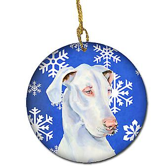 Great Dane Winter Snowflake Holiday Ceramic Ornament LH9266