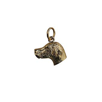 9ct Gold 12x19mm Dog Head Pendant or Charm