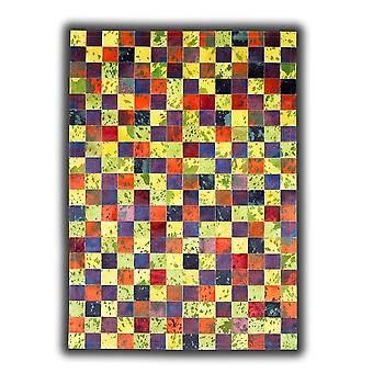 Rugs - Patchwork Leather Cubed Cowhide - Multi Acid Colours