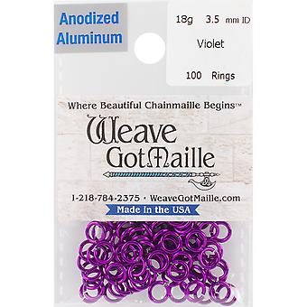 Anodized Aluminum Jumprings 3.5mm 100/Pkg-Violet HPA18A35-VLET