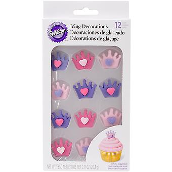Royal Icing Decorations 12/Pkg-Crowns W/Hearts W7106672