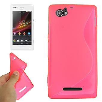 Pink cell phone case protective TPU case for Sony Xperia M C1904 C1905