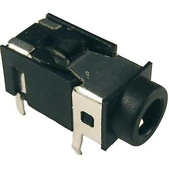 3.5 mm audio jack Socket, horizontal mount Number of pins: 4 Stereo Black Cliff FC68125 1 pc(s)