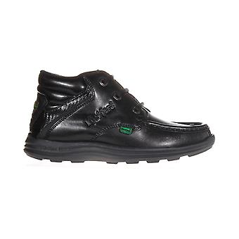 Kickers Reasan Leather Junior Kids School Boot Shoe Black
