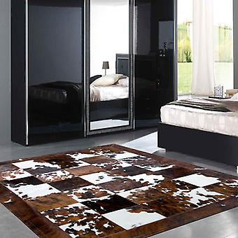 Rugs - Patchwork Leather Cubed Cowhide - Normandy Cow with Border