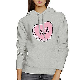 Meh Heart Unisex Gray Hoodie Lovely Graphic Cute Gift Idea For Her