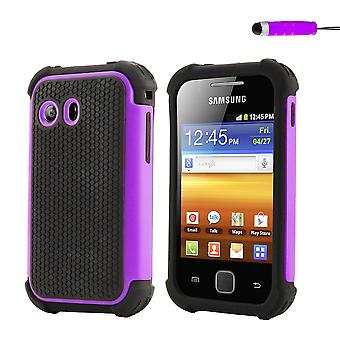 Shock Proof Case + stylus for Samsung Galaxy Y (GT-S5360) - Purple