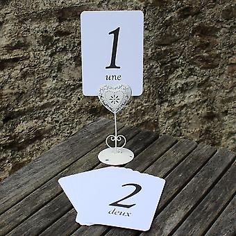 White Wedding Table Numbers - French - Single Card - 1 – 16 Black Numbers