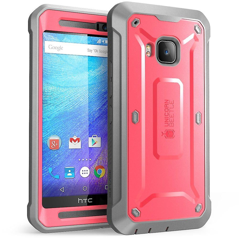 HTC One M9 Case, SUPCASE, Unicorn Beetle Pro Full-body Rugged Holster Case with Built-in Screen-Pink/Gray