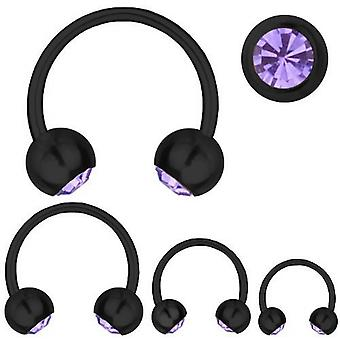 Circular Barbell Piercing Black Titanium 1,2mm, SWAROVSKI ELEMENTS Purple | 6-12 mm