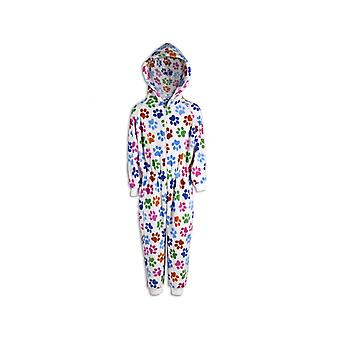 Camille Childrens Unisex White Multi Colour Paw Print All In One Pyjama Onesie