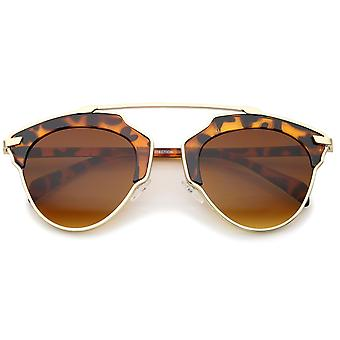 Alta moda Pantos dos tonos travesaño teñido gafas de sol de aviador lente 52mm