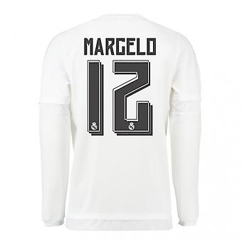 2015-16 Real Madrid Long Sleeve Home Shirt (Marcelo 12) - Kids