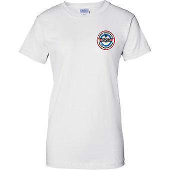Estados Unidos arma combatiente arma escuela de Marina superior Insignia - diseño de pecho de las señoras camiseta