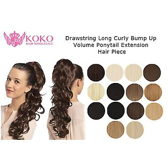 "22"" Drawstring Long Curly Bump Up Volume Ponytail Extension Hair Piece"