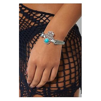 The Fashion Bible Bohemian Silver Hamsa Bracelet
