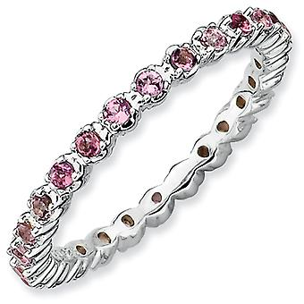 Sterling Silver Polished Prong set Patterned Rhodium-plated Stackable Expressions Pink Tourmaline Ring - Ring Size: 5 to