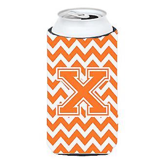 Letter X Chevron Orange and White Tall Boy Beverage Insulator Hugger