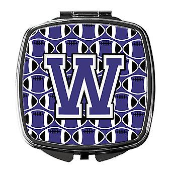 Letter W Football Purple and White Compact Mirror