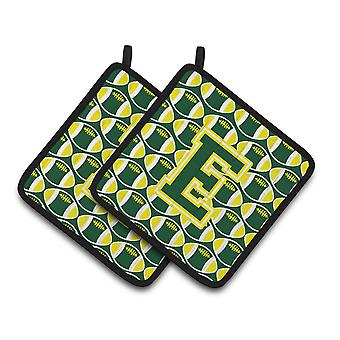 Letter E Football Green and Yellow Pair of Pot Holders