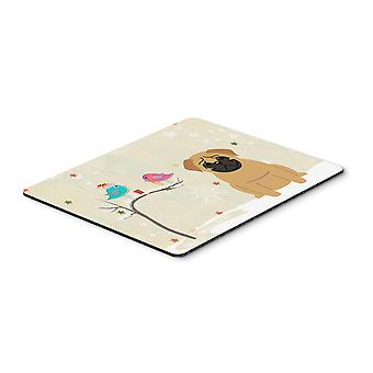 Christmas Presents between Friends Pug Brown Mouse Pad, Hot Pad or Trivet