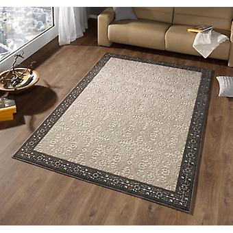 Design velour carpet border cream grey | 102287