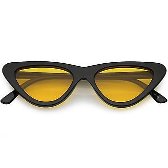 Okulary przeciwsłoneczne damskie mały gruby kot powiek przyciemniane płaski obiektyw 51mm