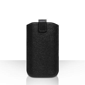 Caseflex Medium Prawdziwa skóra powrót etui na telefon - czarny