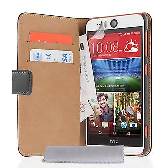 Caseflex HTC Desire EYE prawdziwe skórzane etui portfel - czarny