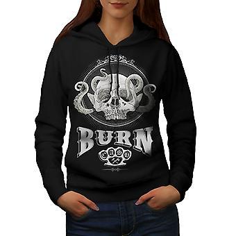 Burn Evil Head Punk Skull Women BlackHoodie | Wellcoda
