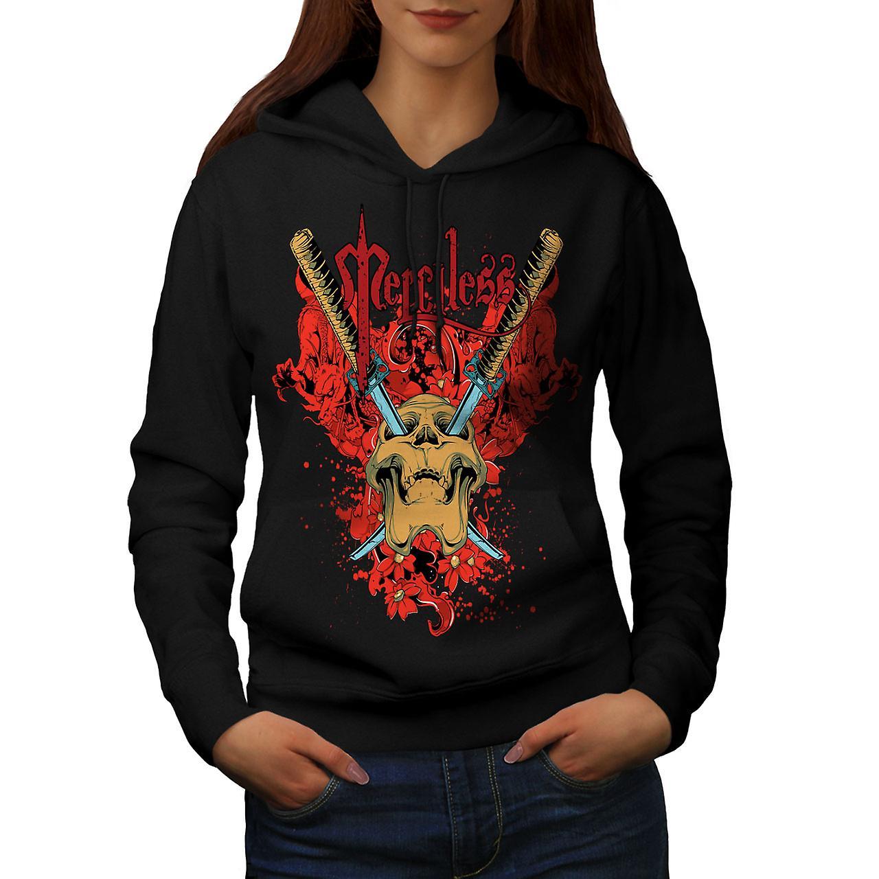 Merciless Flower Skull Women Black Hoodie | Wellcoda