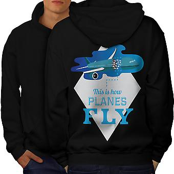 Planes Fly Men BlackHoodie Back   Wellcoda