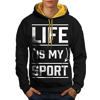 Das Leben ist Sport Angebot lustige Männer schwarz (Gold Hood) Kontrast Hoodie | Wellcoda