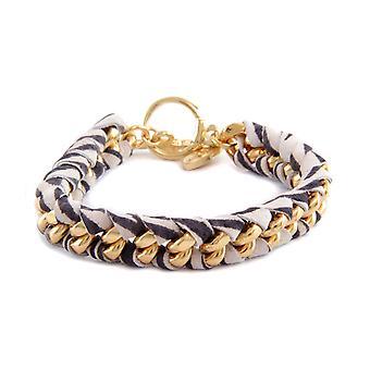 Ettika - Bracelet in yellow gold Zebra and cotton braided ribbons printed