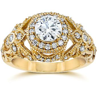 Emery 1,00 Ct Vintage diamant Engagement 14K gul guld